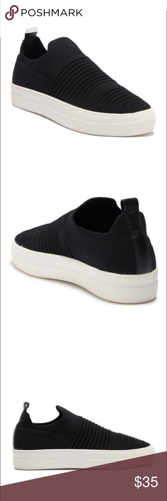 Madden Buffi Black Knit Platform Slip