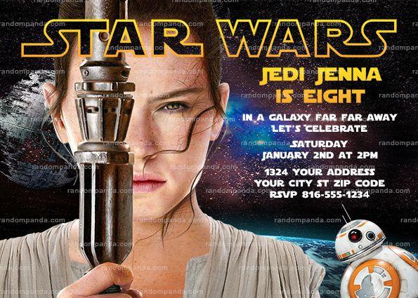 Star Wars Invitation Rey Party Force Awakens Birthday Invite