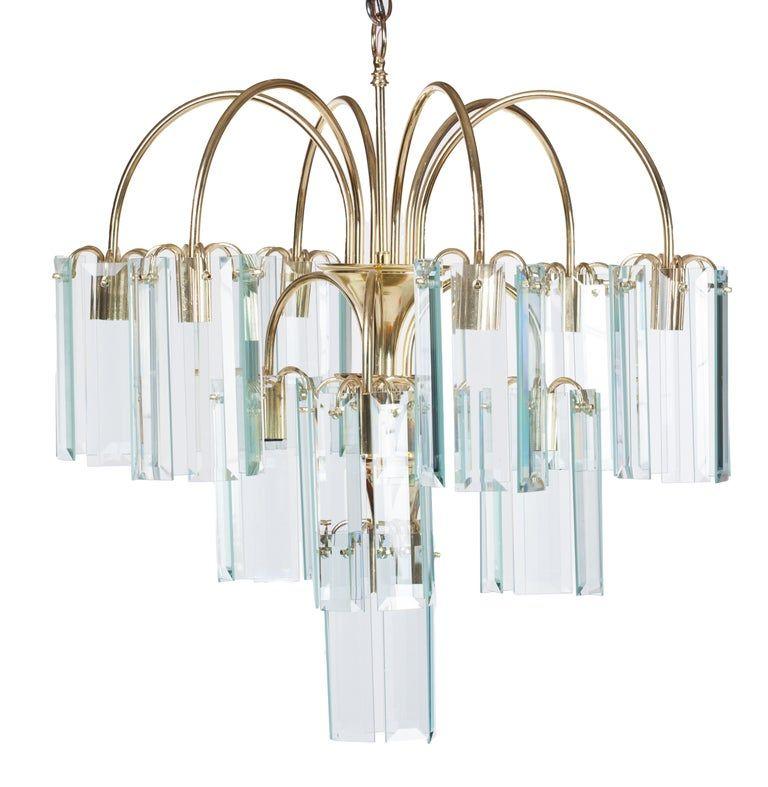 Waterfall Beveled Glass And Brass Chandelier Glass Globe