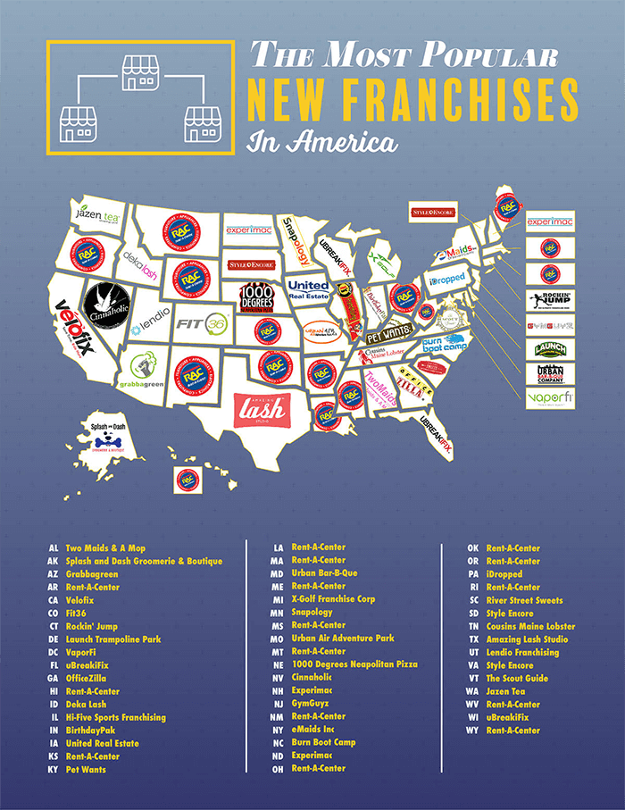What Is The Most Popular Franchise In Your State Franchiseopportunities Com Funny Maps Franchising Popular