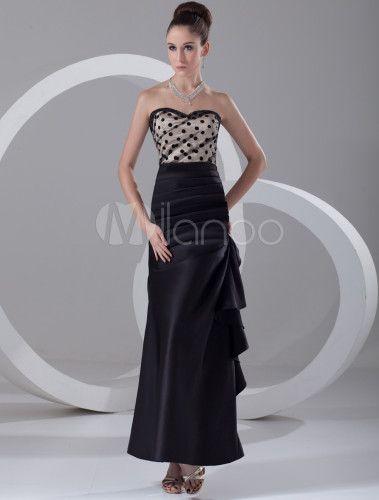Chic Black Satin Cascading Ruffle Sweetheart Neck Fashion Evening Dress - Milanoo.com