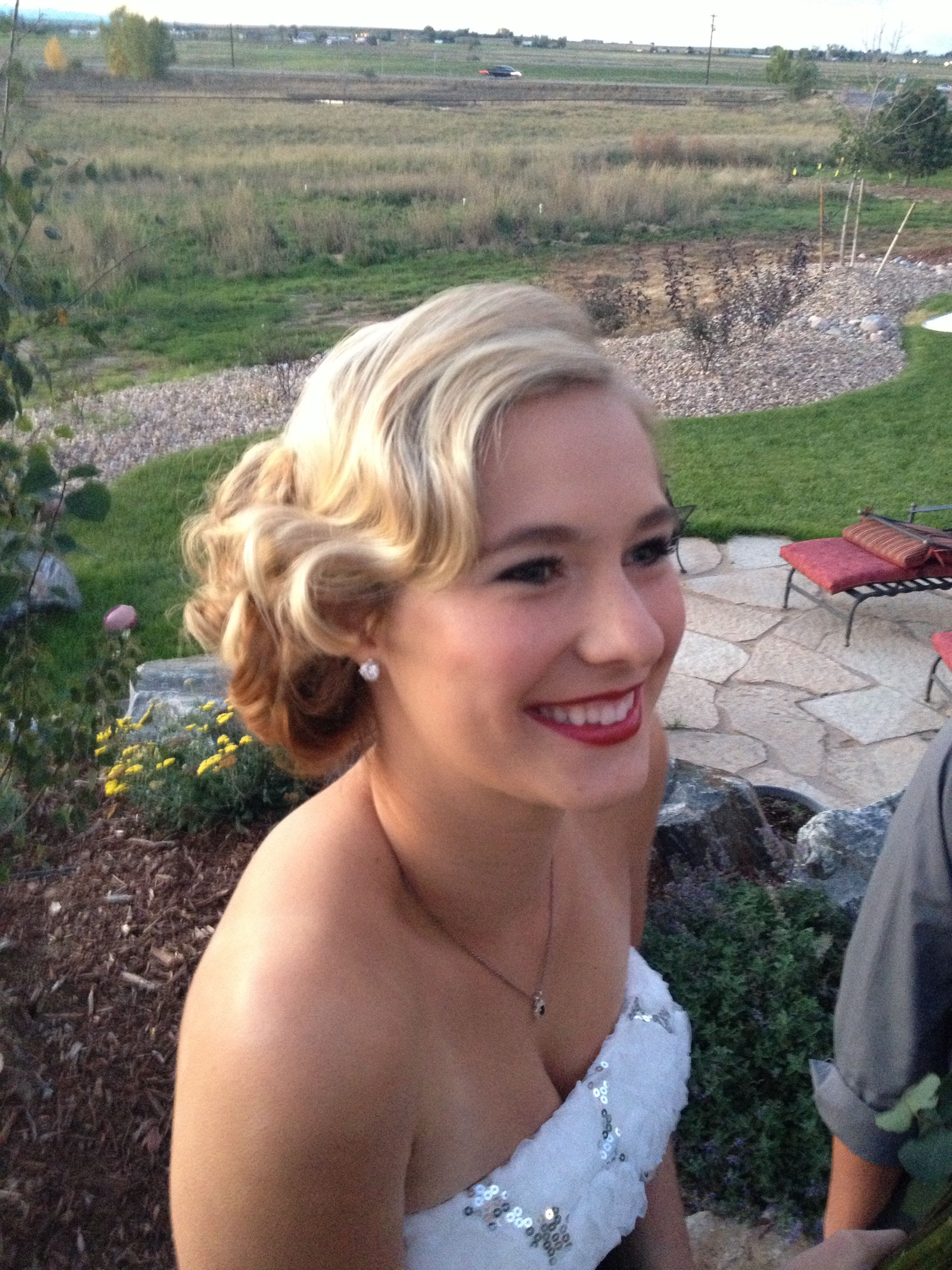 Retro finger waves prom or wedding.  Hairstyle, hair.