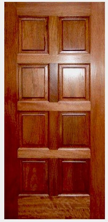 Eto Door S Mahogany 8 Panel Door Comes In A Number Of Sizes And Options Solid Core Construction Provides For A Much Quieter Env Eto Doors Panel Doors Paneling