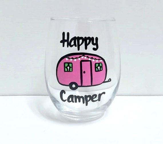 bba442c843b Happy Camper stemless wine or pint glass/ camping wine or pint beer ...