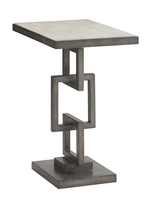 Oyster Bay Deerwood Side Table With Burnished Metal Chain