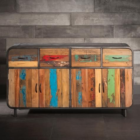 Four Door And Four Drawer Sideboard Made Of Metal And Recycled Wood From Old Fishing Boats Bois Recycle Bois Mobilier De Salon