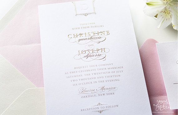 Gold Engraved with Pink Letterpress Wedding Invitation Sample Set - Bourne Glam Design - Luxury Wedding Invitations by Sincerely, Jackie