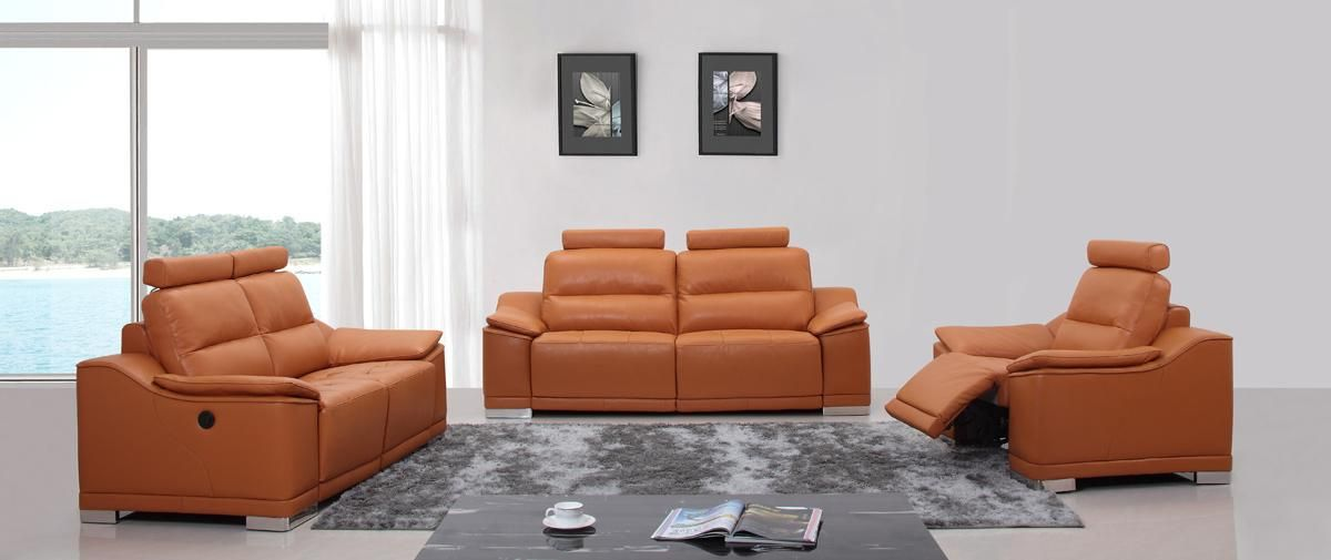Orange Italian Leather Sofa Set W Recliners Free Shipping Sofa Set Leather Sofa Set Orange Leather Sofas #orange #leather #living #room #set