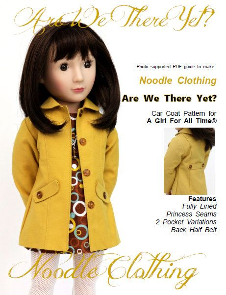 A Girl For All Time® Doll Clothes PDF Pattern Are We There Yet? Car Coat Pattern