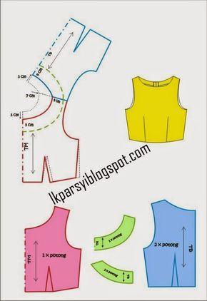 Garis Lima : garis, Leher, Persegi, Bulat, Blouse, Pattern, Sewing,, Shirt, Sewing, Pattern,