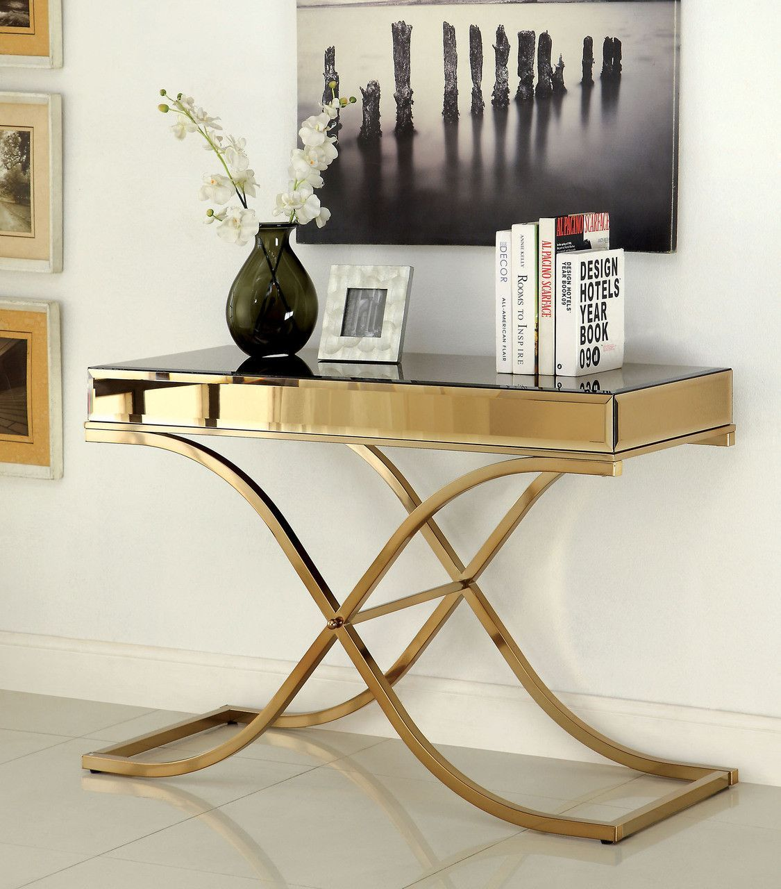 """CM4230S Sofa Table Sundance CollectionSleek with carefully """"X"""" curved framework accented with spacioustable top space. Sofa Table Sale for $524"""