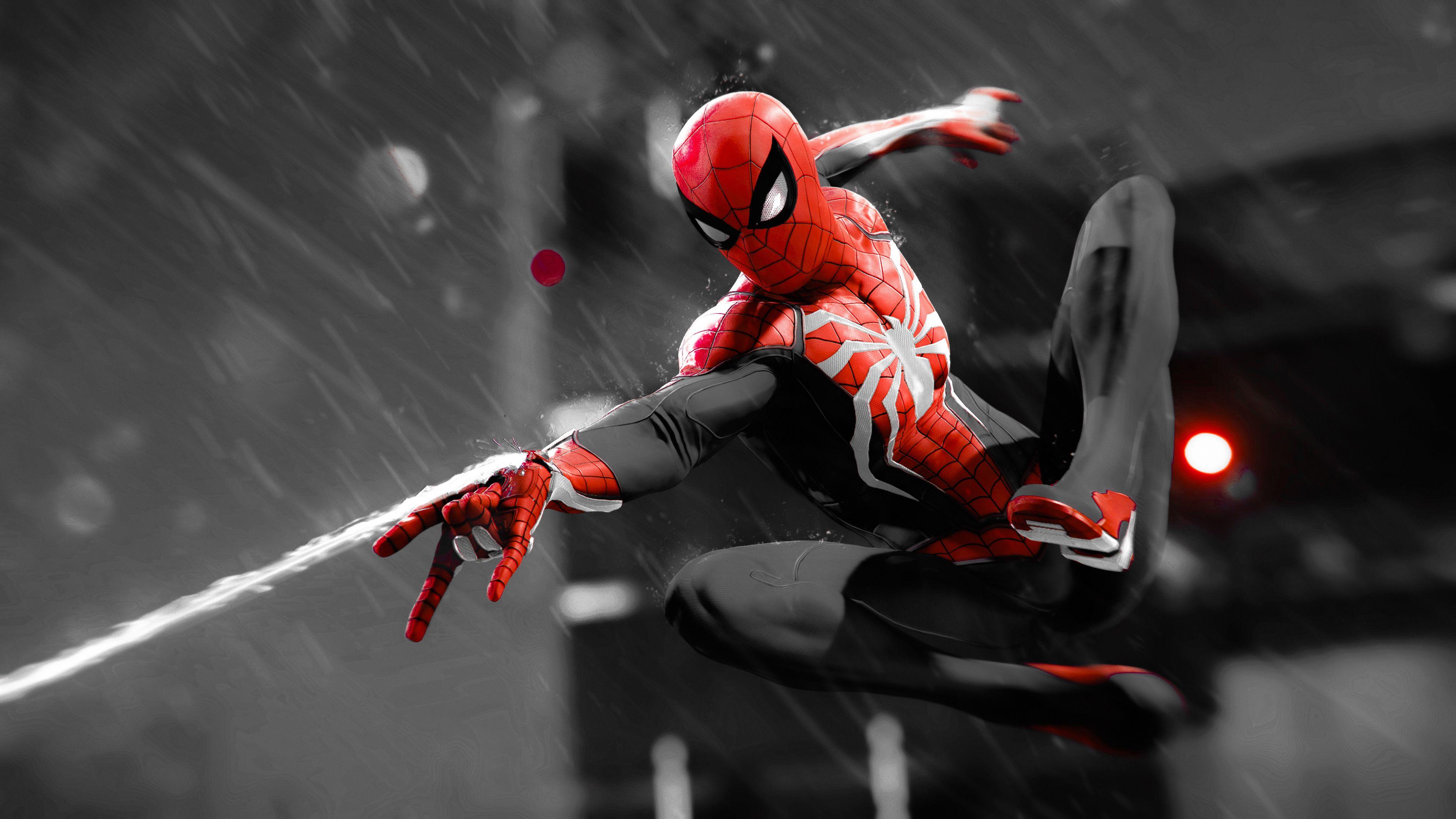Spiderman Monochrome 4K superheroes wallpapers, spiderman