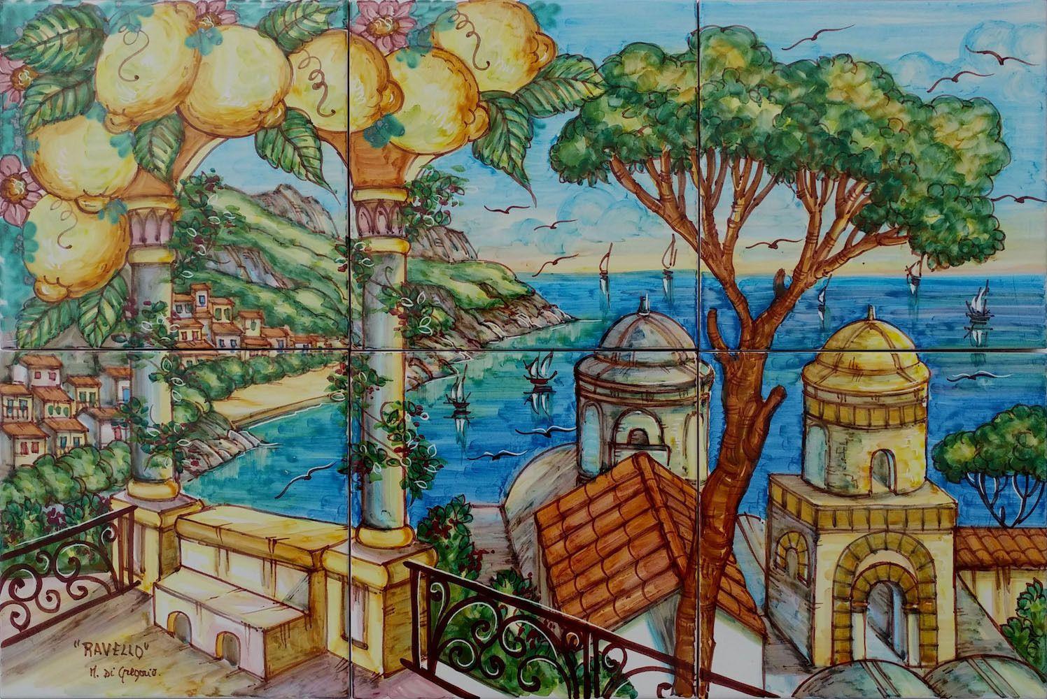 Pannello murale ravello con limoni cm pastello ceramica