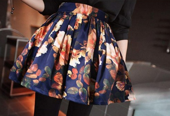 Flower Print Skirt by Kalliope's Closet