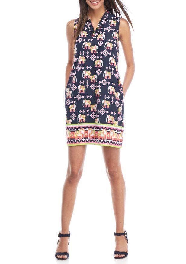 af4cedbdb44 Crown   Ivy Women Elephant Print Sleeveless Ruffle Neck Shift Dress Navy  Size 2  CrownIvy  ShiftDress  Casual