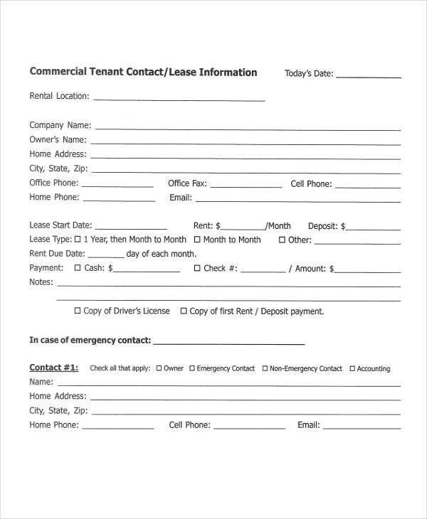 Tenant Information Form Template Luxury 38 Information Sheet
