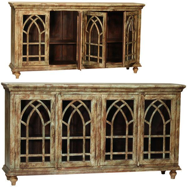 Reclaimed Rustic Cathedral Arch With Glass Door Sideboard Cabinet Buffet