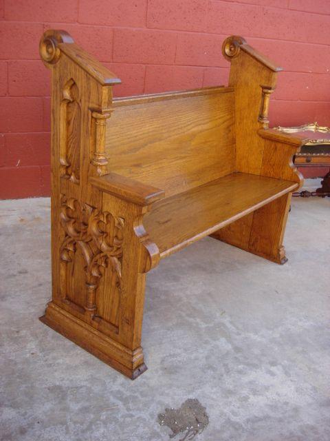 English Antique Gothic Church Pew Gothic Antique Furniture
