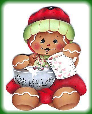 "LAMINATED FRIDGE MAGNET Gingerbread ""Bake With Love"""