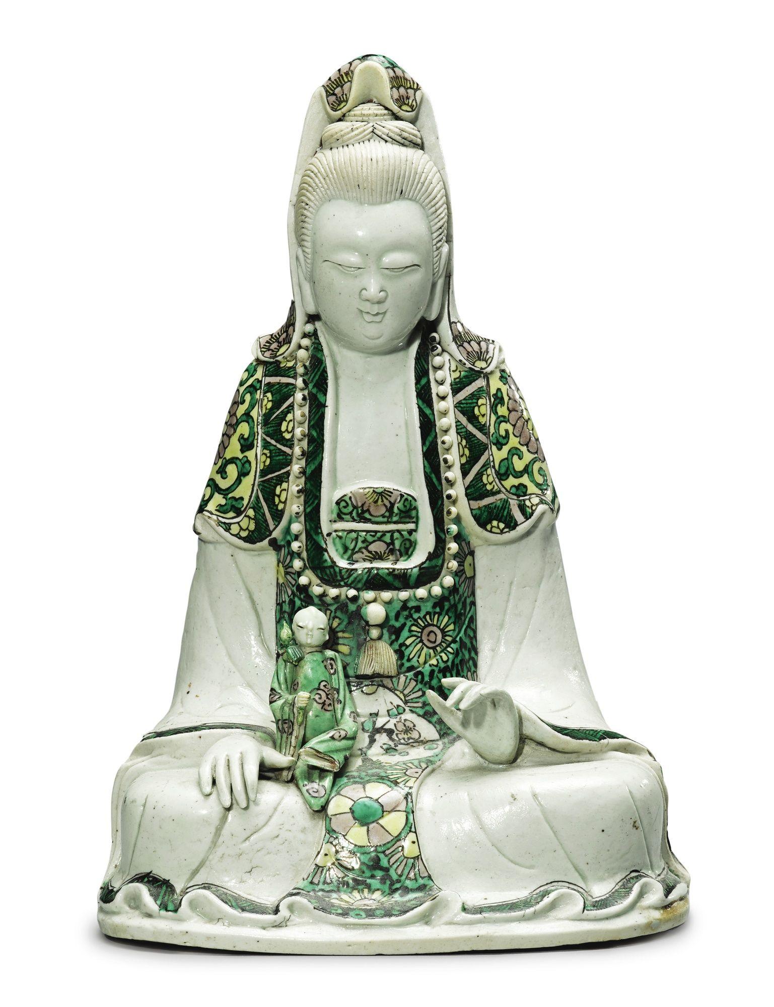 A Famille Verte Biscuit Figure Of Guanyin Qing Dynasty Kangxi Period 1662 1722 Kuan Yin Statue Define Art Buddhist Art