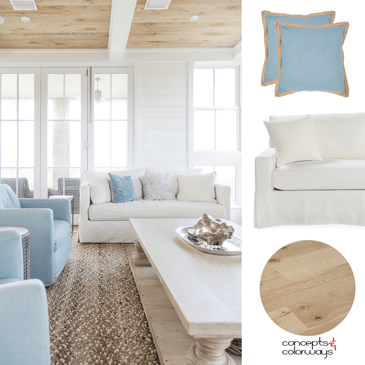 A Tan And Blue Color Palette For Coastal Living Rooms Blue