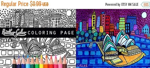 45 Off Today Sydney Australia Skyline City Coloring Book Pages Adult Cityscape Printable Instant Download