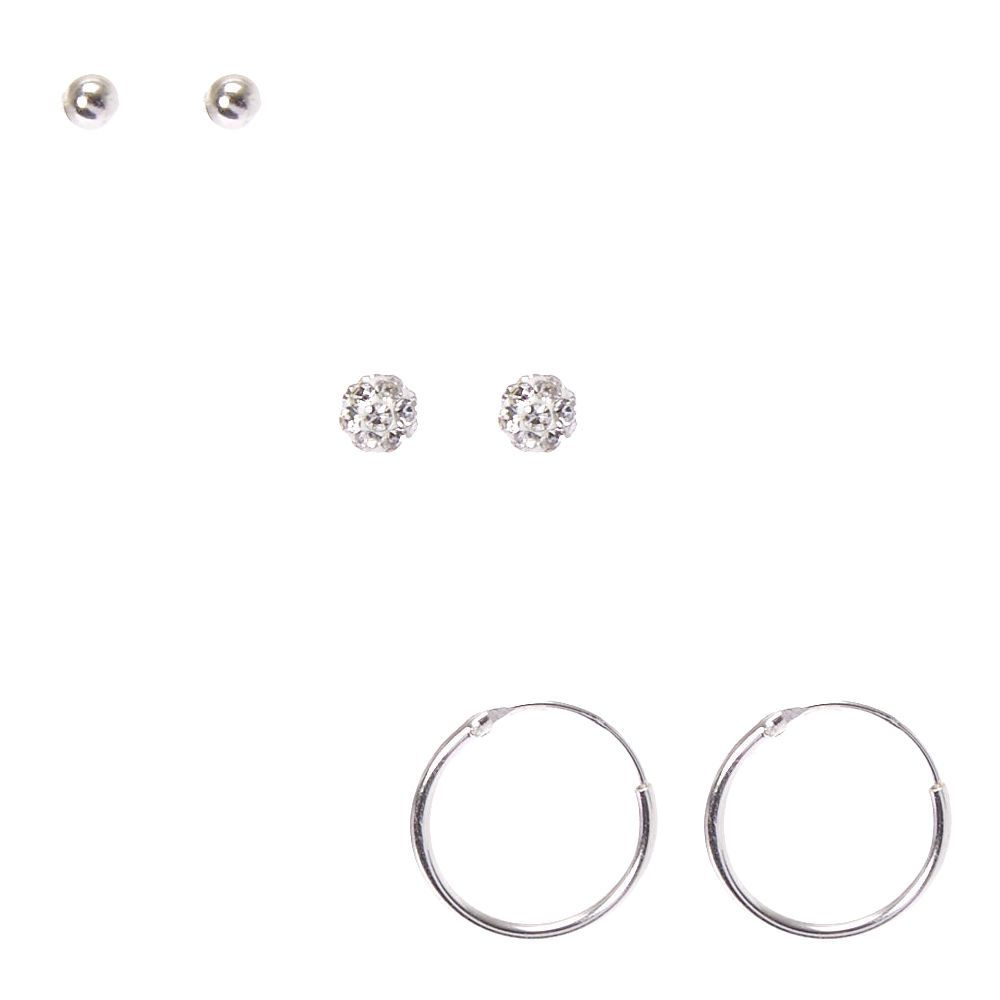 1172237ca Claire's Sterling Silver Fireball Stud Earrings Girls Accessories, Precious  Metals, Hair Jewelry