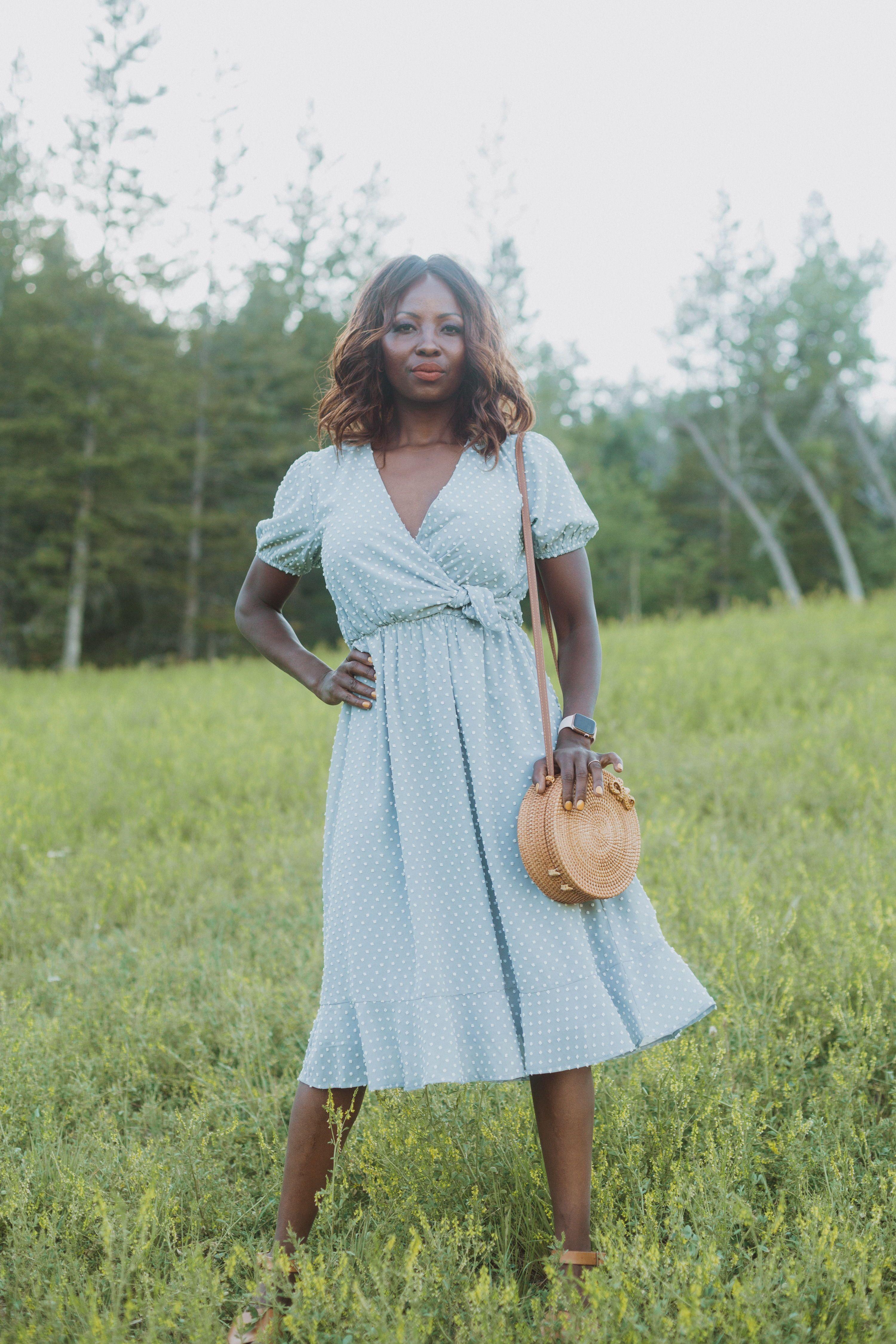 The Adaline Swiss Dot Wrap Dress In Dusty Blue Wrap Dress Dresses Fashion [ 4500 x 3000 Pixel ]