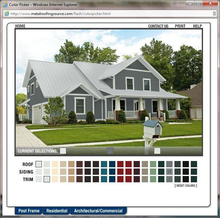 Metal roofing colour picker dream home casas - Mountain home exterior paint colors ...