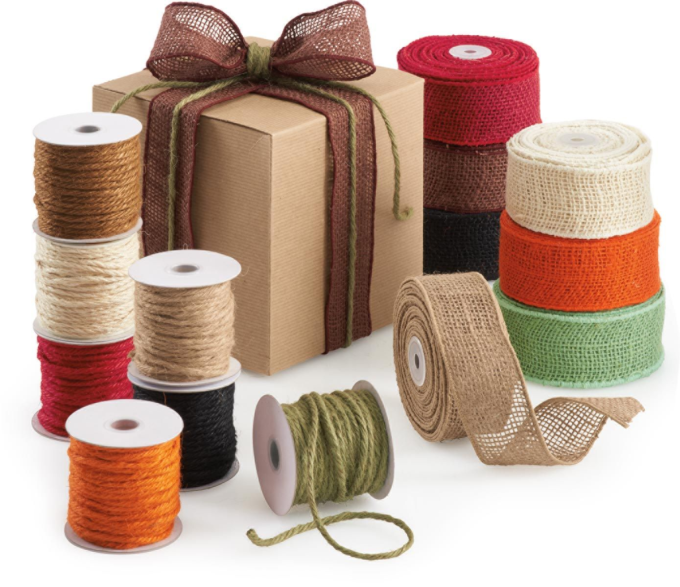 "Burlap ribbon adds that perfect ""fall touch"" to any gift or package. It's also great for events, like a fall wedding. #burlap #fallwedding #burlapribbon"