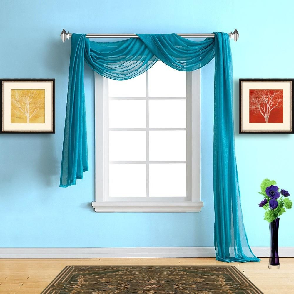 Warm home designs pair of blue teal voile sheer window curtains