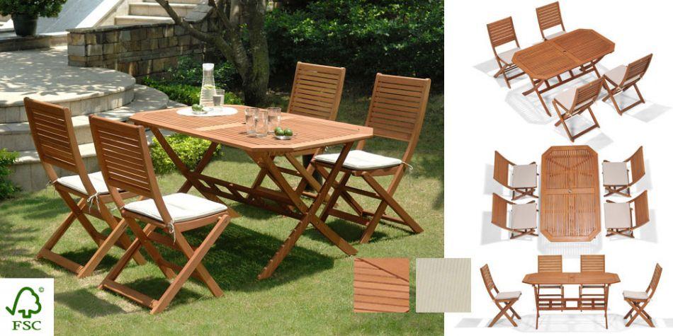 Salon De Jardin Bois Primero Table Octogonale 4 Chaises