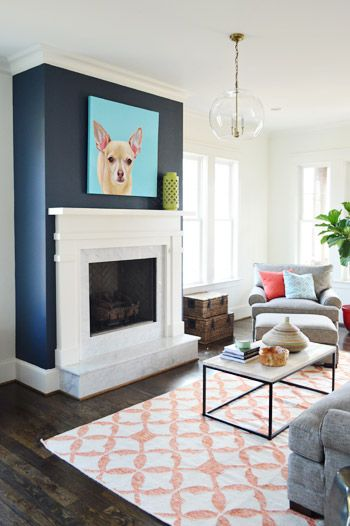The show must go on a splash of color fireplace accent - Blue accent walls for living room ...