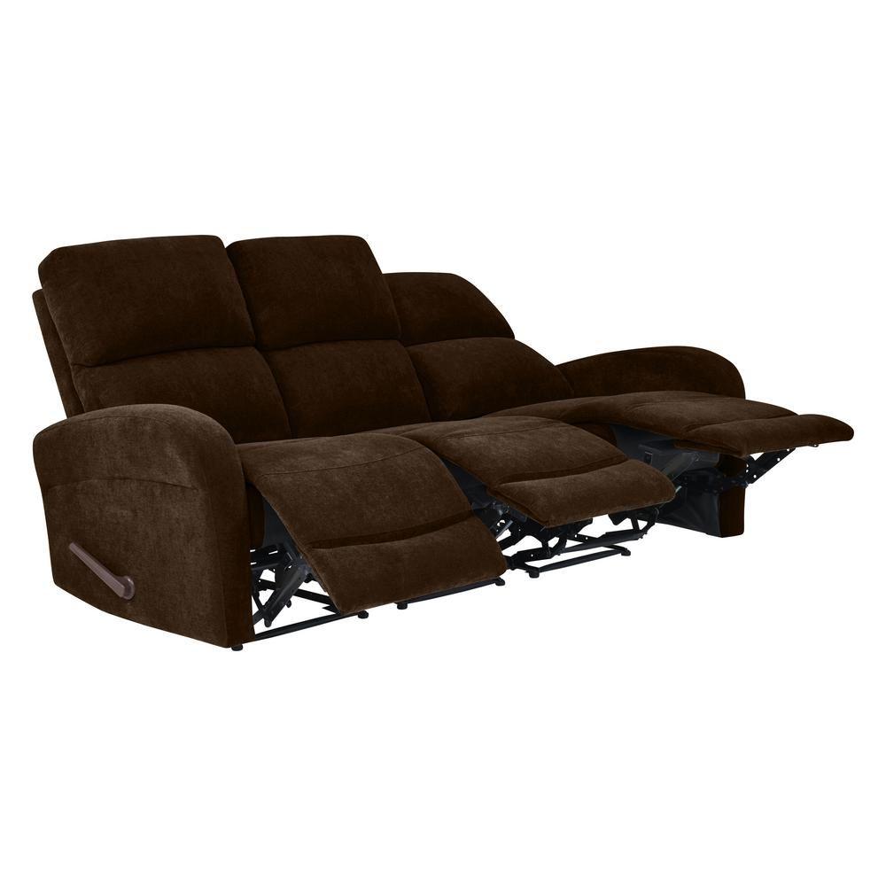 ProLounger Chocolate Brown Chenille Modular Recliner Sofa (3 ...