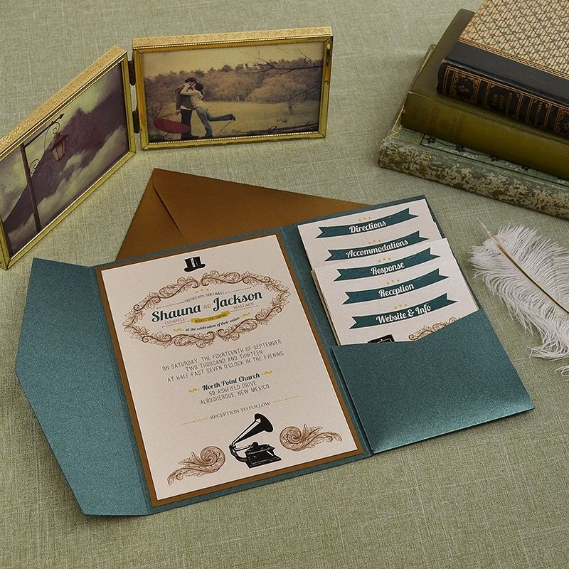 Vintage Emerald and Antique Gold Wedding Pocket Invitation ...