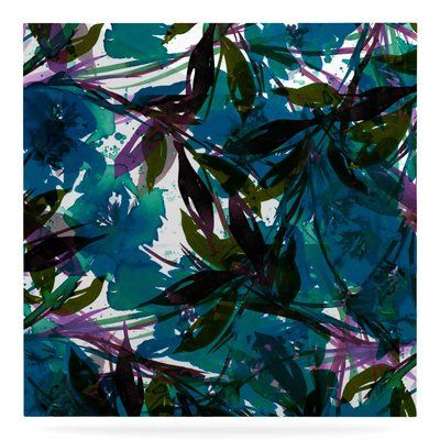 """East Urban Home 'Floral Fiesta' Watercolor Painting Print on Metal in Teal Size: 10"""" H x 10"""" W x 1"""" D"""