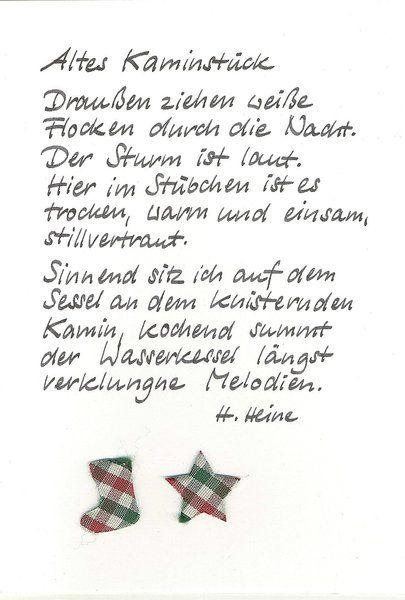 Mundart Weihnachtsgedichte.Weihnachtskarte Kamin Von Kartenfreude Auf Dawanda Com Sprüche