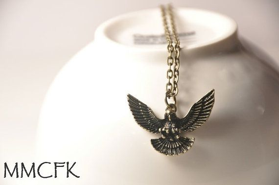 Little Antique Brass Eagle Necklace with 24 Bronze Chain by MMCFK