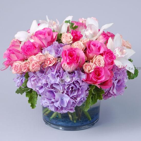 Sonny Alexander Flowers, pastel floral arrangement, baby flower gift, baby shower flower centerpiece, roses, hydrangea, orchids
