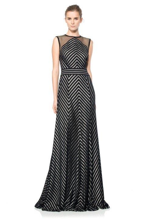 Stripe Knit Chevron Gown