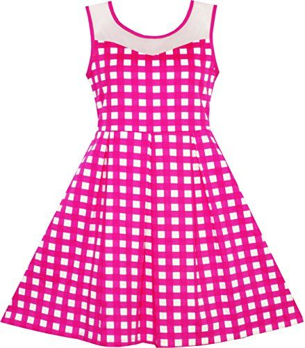 Girls Dress Transparent Shoulder Checkered Plaid Hot Pink Party Dress Size 7-14