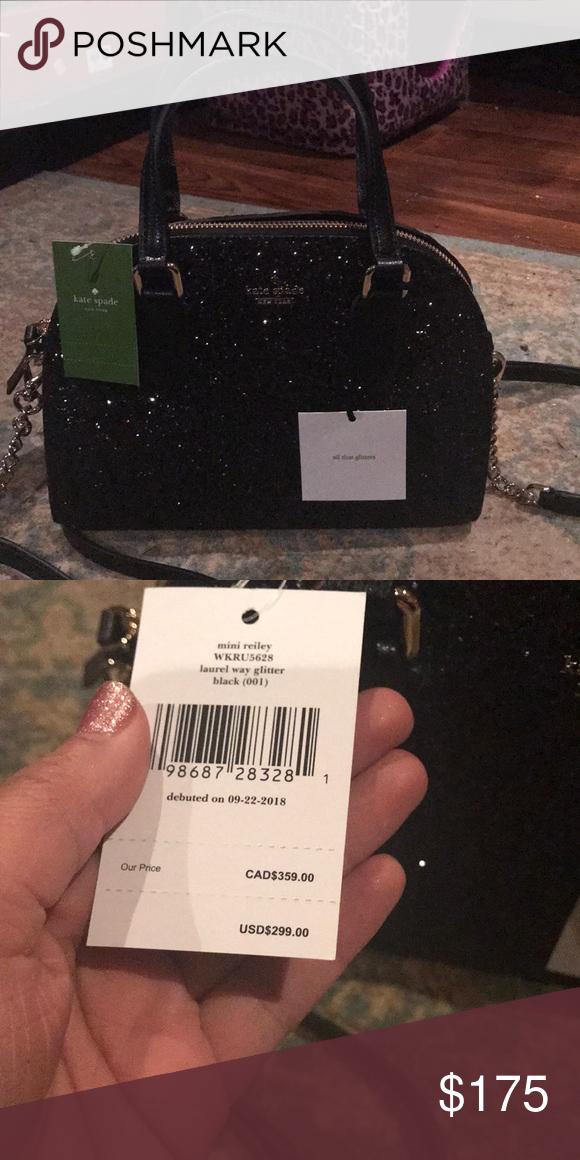 d27d70ce4 Kate Spade Mini Reiley Black glitter BNWT Black glitter Kate Spade tote  with Crossbody strap. kate spade Bags Mini Bags