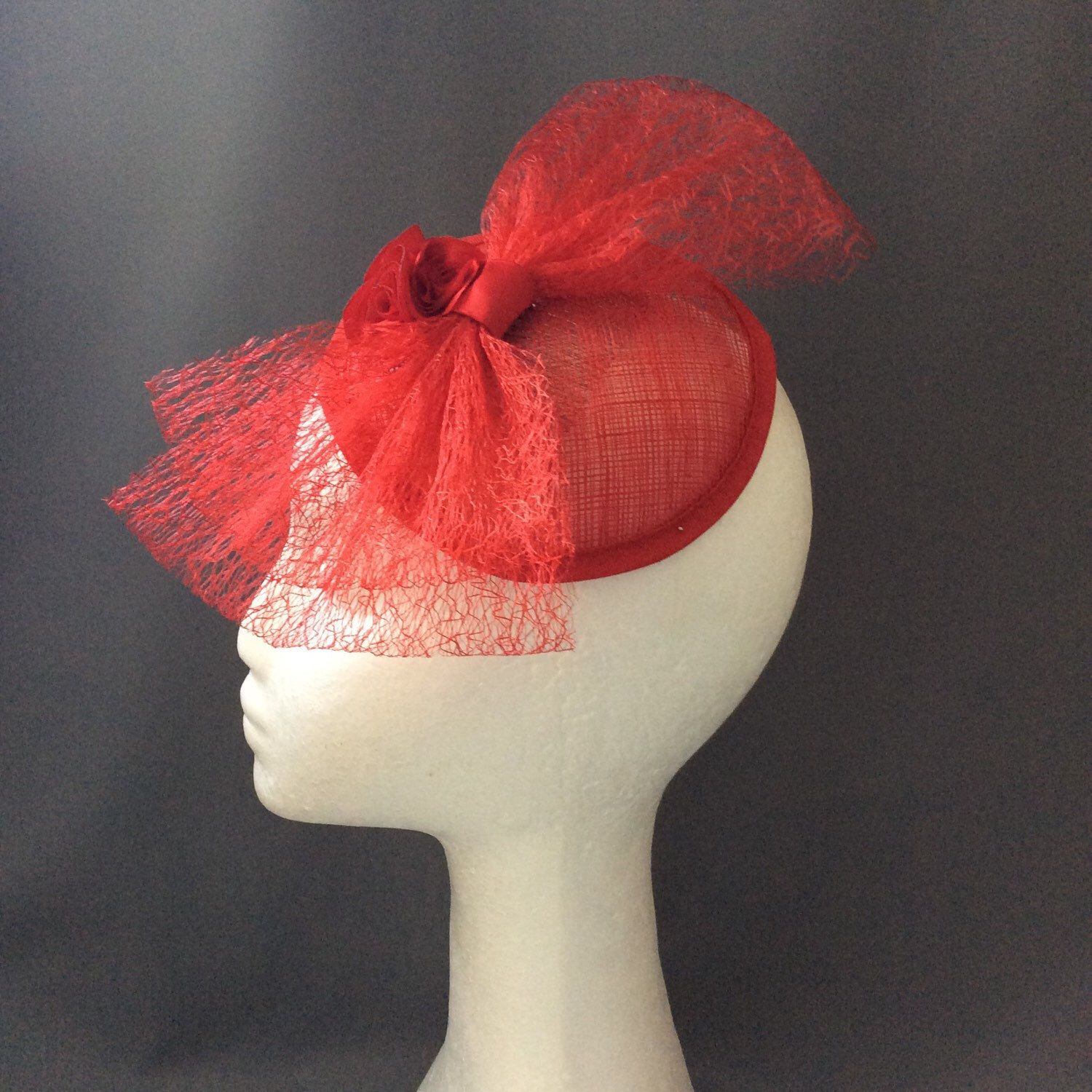 Red fascinator with oversized bow, wedding guest headpiece, mother of the bride fascinator ...