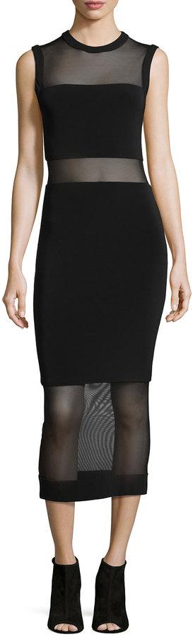 Alice + Olivia Sleeveless Sheer-Inset Midi Dress, Black