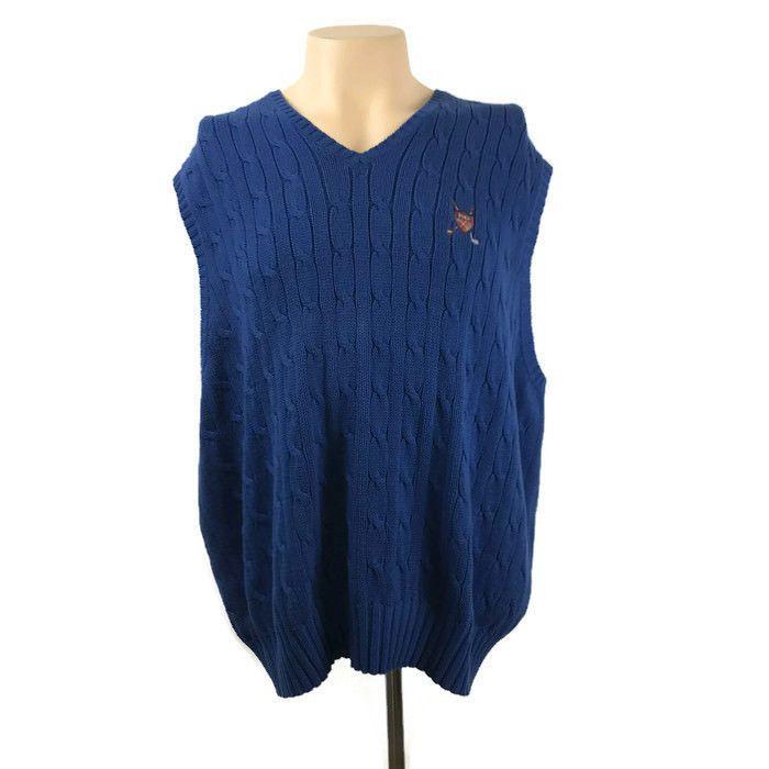 686e920a1 Polo Golf Ralph Lauren Sweater Vest XXL Blue Cable Knit 100% Cotton   PoloRalphLauren