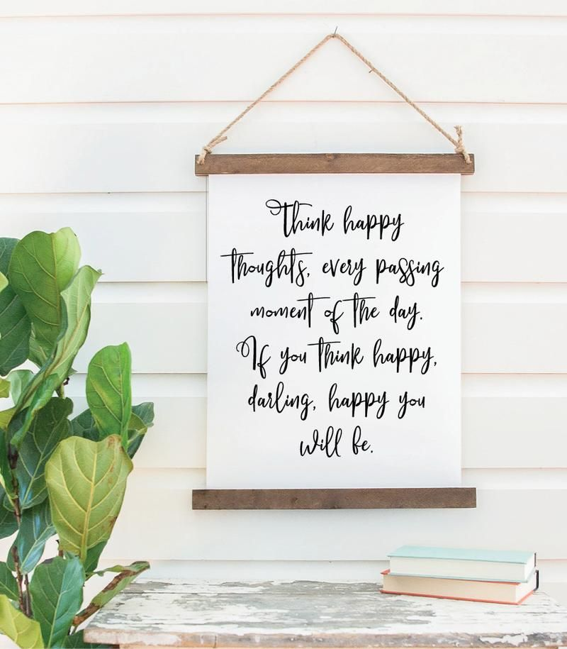Canvas Hanging Print Happy Thoughts Darling Closeout