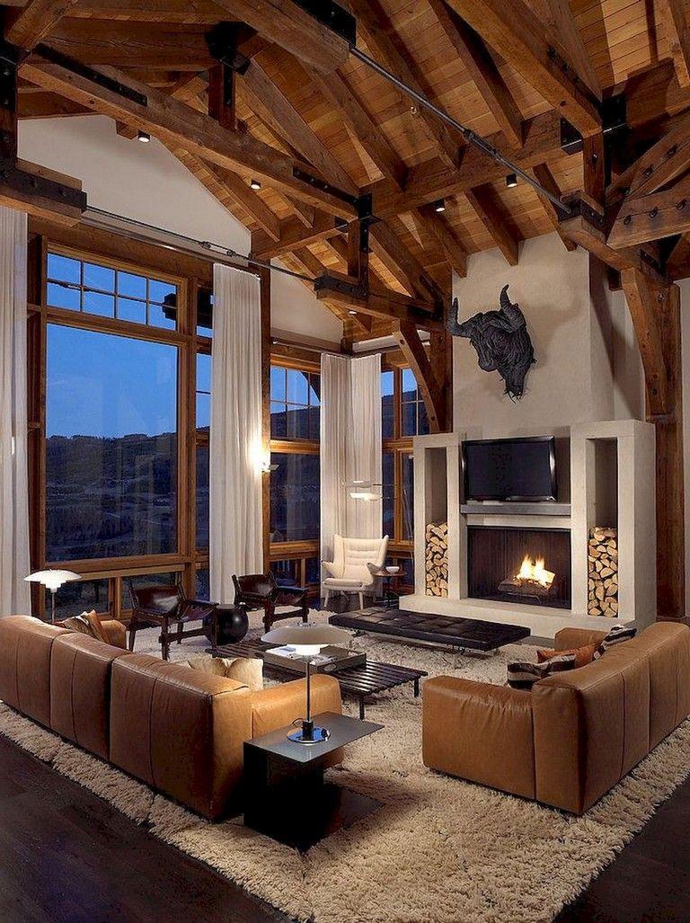 65 Wonderful Modern Farmhouse Living Room Decor Ideas Mountain Home Interiors Modern Lodge Modern Farmhouse Living Room Decor