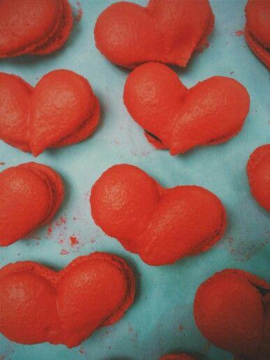 Raspberry Heart Macarons