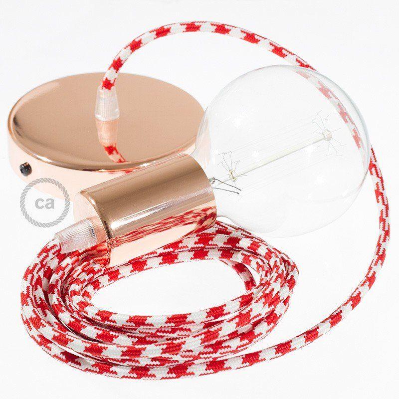 Lampe Suspension Câble Textile Bicolore Rouge Rp09