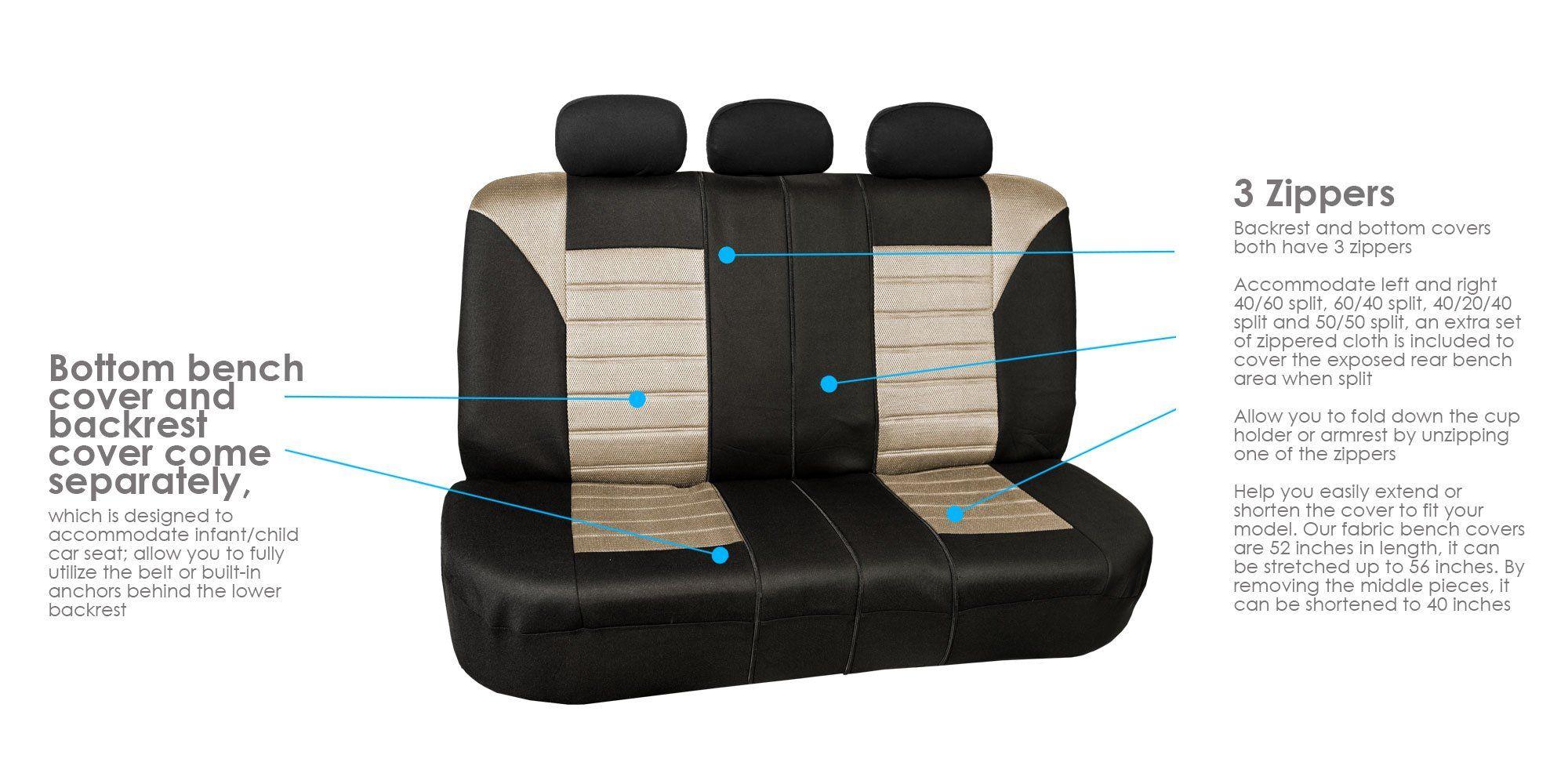 FH GROUP FHFB068115 Premium 3D Air Mesh Seat Covers Full